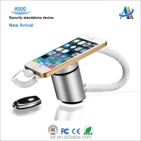 Retail mobile shop loss prevention equipment,cell phone security stand with charging alarm function A500