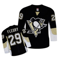 Adult black Pittsburgh Penguins High quality Ice hockey jersey or team uniforms of hockey wear