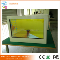 "42"" transparent wooden lcd display HDMI/USB/VGA transparent showcase"