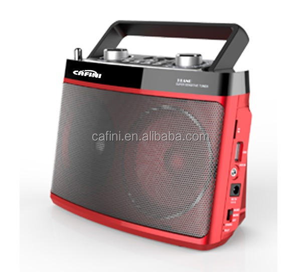 Cafini Dual-speaker portable radio, FM AM SW 3 band radio, SD TF USB card amplifer