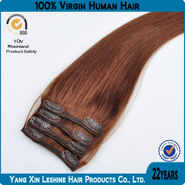 Hot type 8pcs 18clips full head 100%virgin human remy Russian clip in hair extension