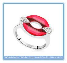 Latest charm lips shaped austrian crystal ring plated silver ring bali rings