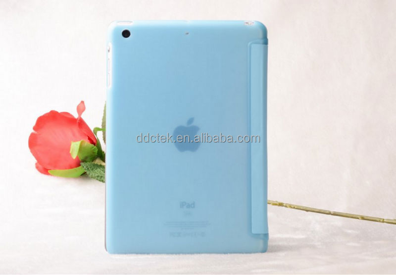 Popular blue PC and PU leather smart cover for ipad case for apple ipad air