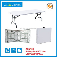 6 feet hdpe blow mold table/easy carrying camping bbq table fold up in the car/outdoor cheap folding camping picnic table