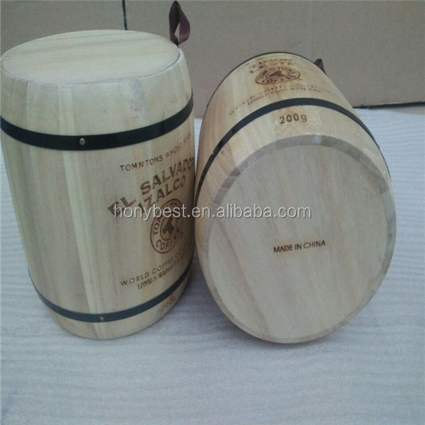 Cheap Empty Paulownia Wood Barrels for Coffee Bean,Candy