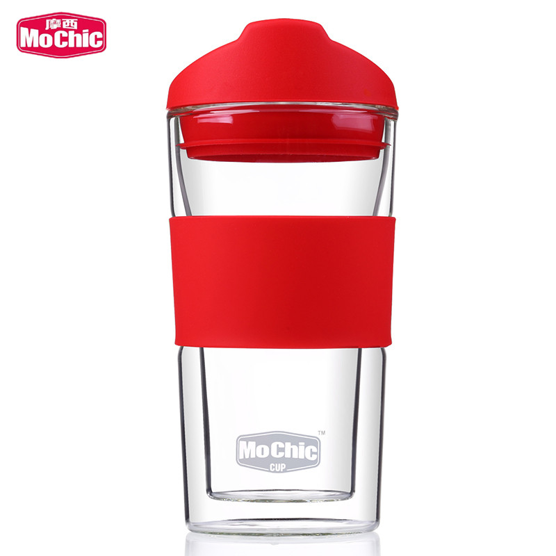 Mochic double wall heat resistance tea glass cup for promotion