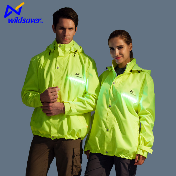 LED flashing green womens ski jacket foldable ladies fancy jacket