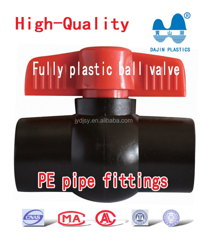 PE pipe fittings fully plastic HDPE ball valve