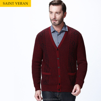 Chrismas new arrival mens red stripe cardigan with two pockets