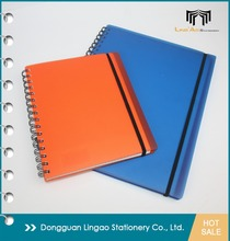 A5 Wholesale Customized LOGO Colored PP hard plastic cover notebooks Double ring Spiral bound Journals for school