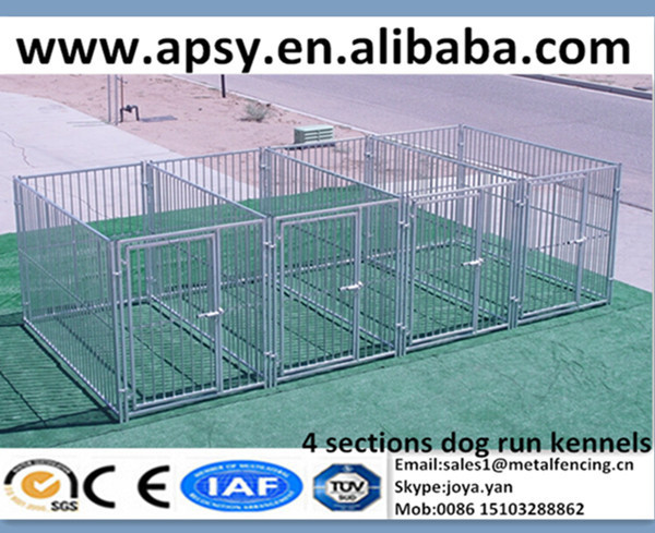 "2015 hot sales 5'x9' modular large pet playpens round bar welded 3"" pitch zoo animal cages 4 sections dog run kennels"