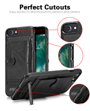 Hot pu leather anti-flip card slots kickstand phone case cover for iphone 7 6 6s plus with stand