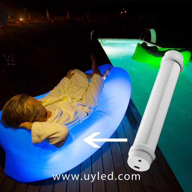 Inflatable Outdoor Air Sleep Sofa Couch Portable Furniture Sleeping Hangout Lounger Imitate Nylon for Laybag Led Lighting Kit