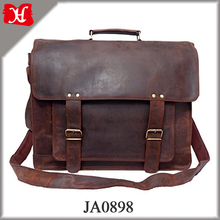 Men's Rustic Leather Briefcase Travel Office Bag Medium Brown