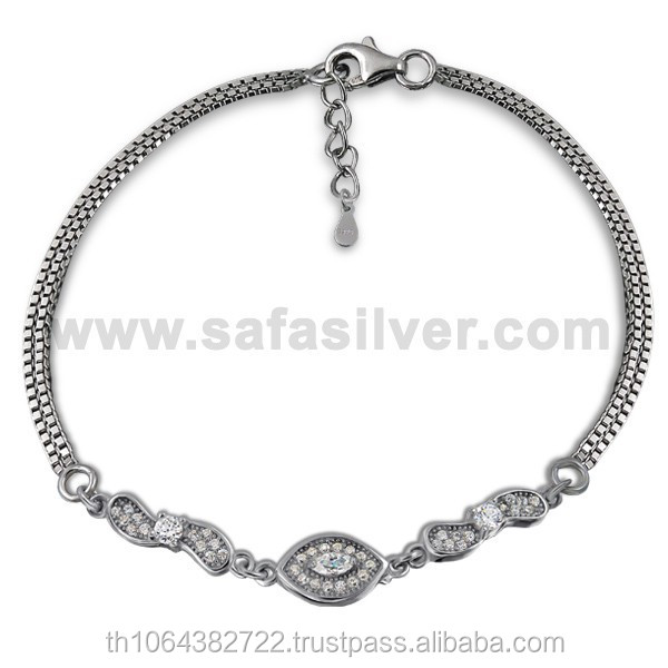 Wholesale Price Chain Bracelet 925 Sterling Silver Rhodium Plated Women Jewelry Cubic Zirconia Fashion Bracelets