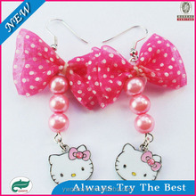 2014 rose red bow hello Kitty exaggerated Pendant Earrings