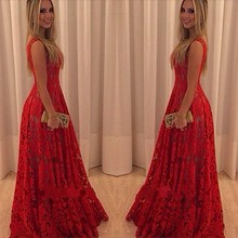 C64483A european style sexy lace red long wedding dress party dress for Women