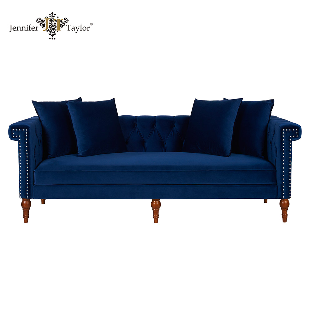 Home furniture American style factory OEM ODM designer sofa/navy blue velvet upholstered magnificent couch