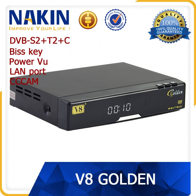 Hot sell !V8 golden dvb S2&T2&C iptv set top box hd mpeg 4 digital terrestrial receiver Support Network Sharing Twin Protocol