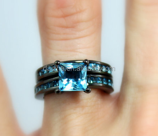 Black Wedding Ring Set Women Wedding Set Anniversary Promise Rings Blue Topaz Unique Jewelry Gift for her