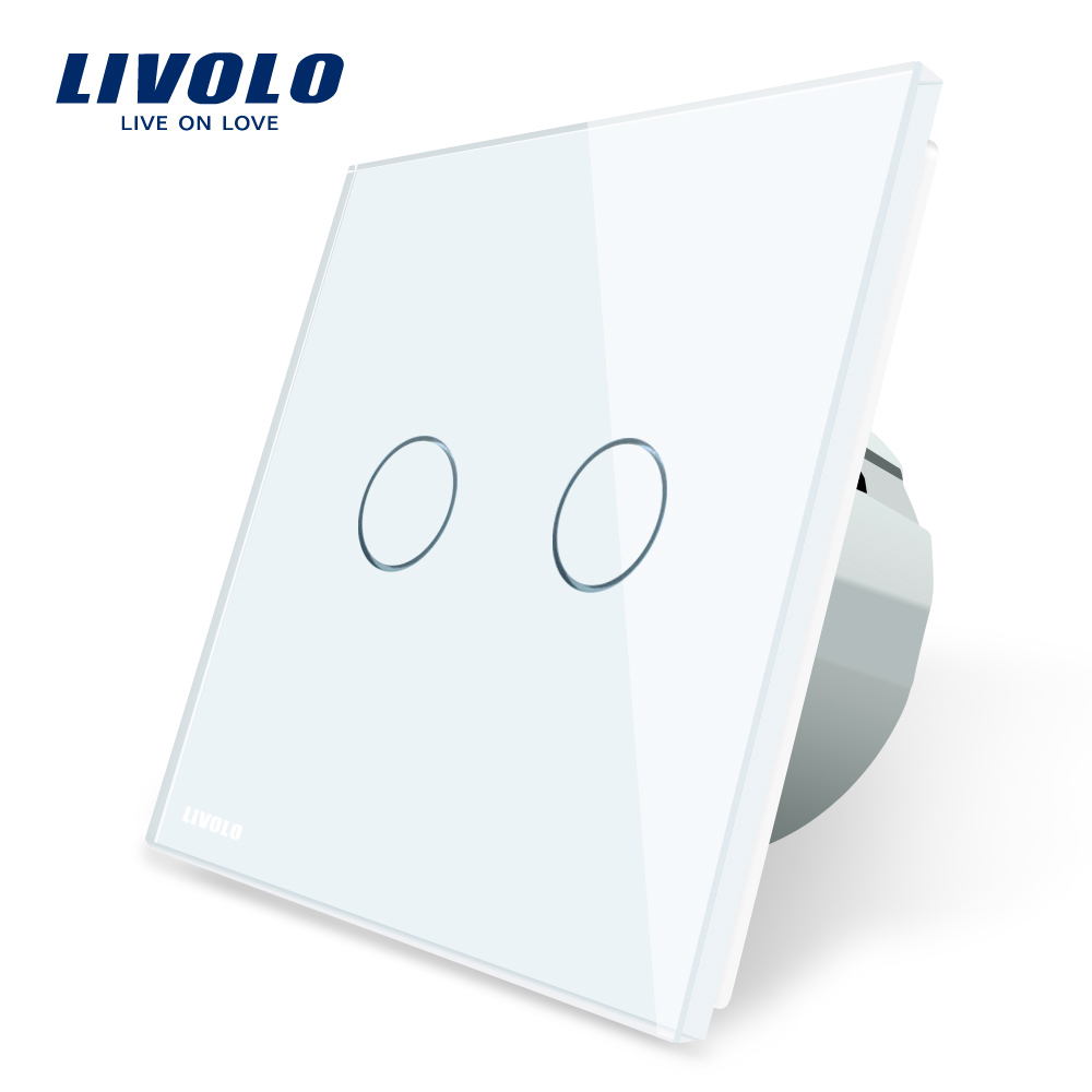 Livolo Produce EU Glass Light <strong>Switch</strong> Two Gang One Way Cyrstal Panel Touch <strong>Switch</strong> VL-C702-11/12/15