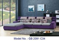 Purple Grey L Shape Sofa Bed Set Design For Living Room With Cheap Price Made In Wooden And Fabric