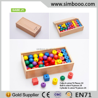 Froebel Kindergarten Gift Jun Gabe J1 Lacing Beads Teaching Aids Early Childhood Wooden Educational Toys