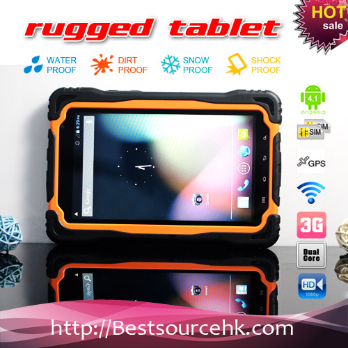 7inch tablet pc android 4.1 back and front camera rugged tablet PC M76 IP65 Bluetooth Wifi GPS 3G HDD 1G 4G-md