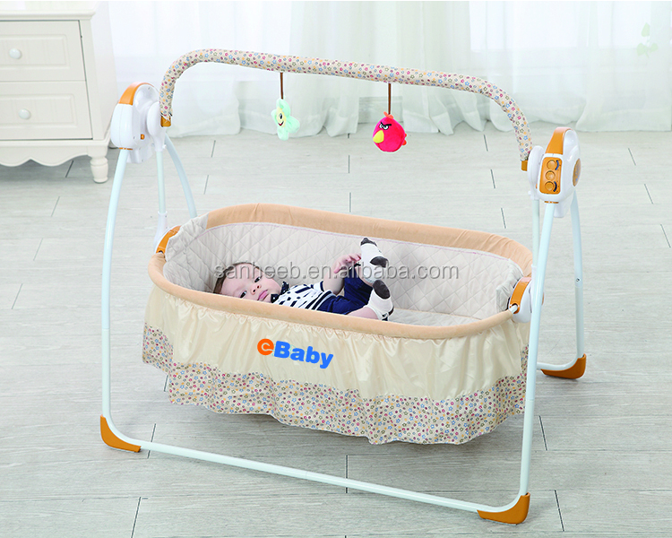 2017 Hot Electric Foldable baby Crib Rocking Bed & Chair with remote control and mosquito net