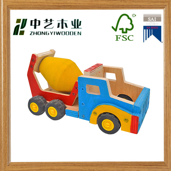 FSC Christmas crafts natural pine plywood hand painted DIY mixer truck kit toy wood educational toys for 3-12 year kids