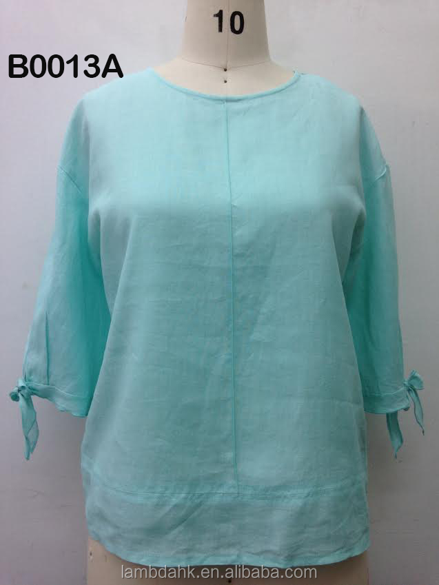 ladies blouse linen round neck 3/4 sleeve blouse women linen blouse printed ladies shirt
