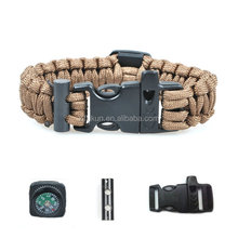 New Portable Tactical Paracord Survival Bracelet Wrist Band Rope With Compass Whistle Buckle With Flint