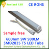 The new invention CE ROHS T5 9w SMD2835 900lm double tube integrate led t5