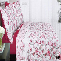microfiber fabric pink flower color quiltted bedding set
