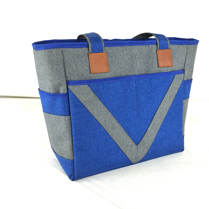2 tones 300D cation linen style grey cooler bag for lunch