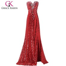 Grace Karin Fashion Women Sexy Dress Split Beaded Sequins Long Red Free Prom Dresses CL6102