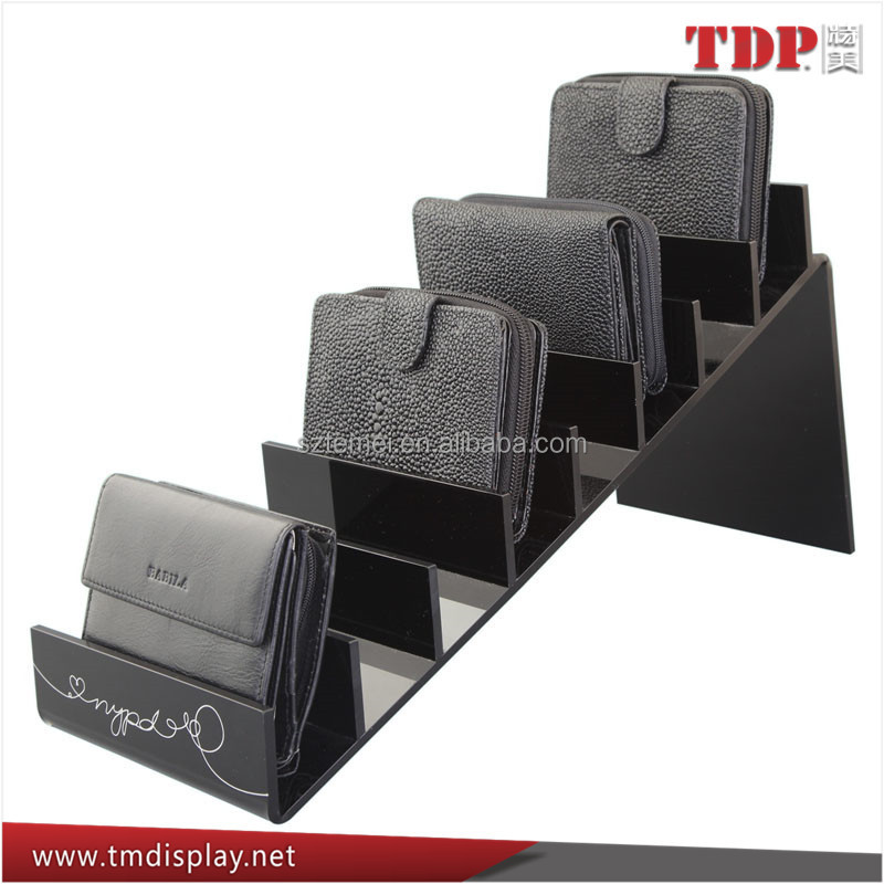 Black color Acrylic wallet stair Display Stand