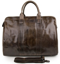 7324B Genuine Leather Brown Cross Bofy Fancy Travel Duffel Bag