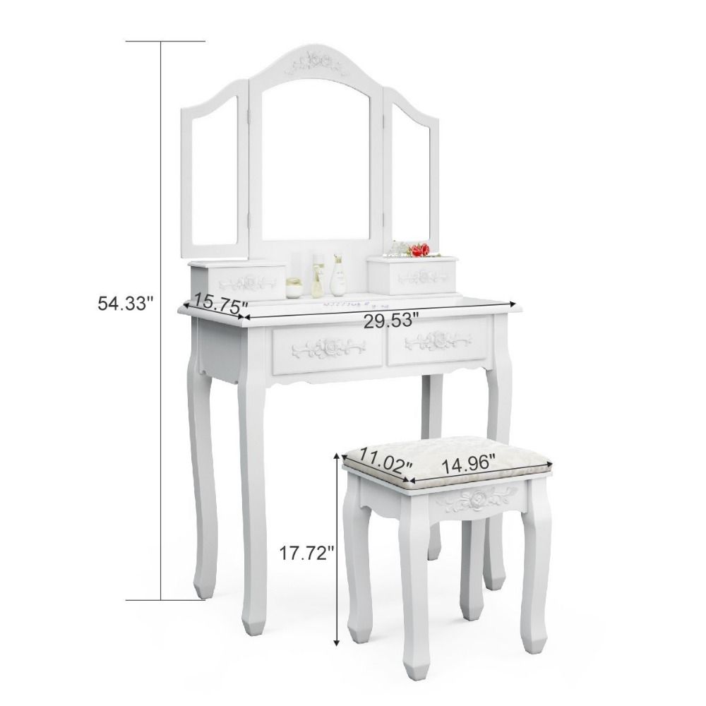 French Vintage Ivory White Vanity Dressing Table Set Makeup Desk with Stool & Mirror Bedroom