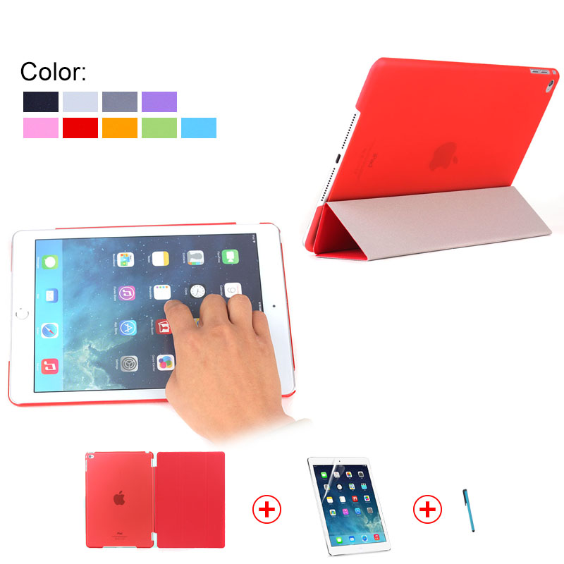 Tri-folding Tablet Smart Cover for iPad Mini 4 With Screen Protector & touch pen, thin smart cover for ipad mini 4 many colors