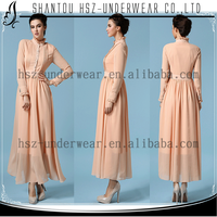 MD7071 New style modesty beautiful shitsuke Muslim long sleeved dress crushed fair maiden dress pure color retro dress