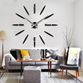 2015 New Product DIY Large Wall Clock 3D Mirror Surface Sticker Home Office Decor Wall Clock for Sale