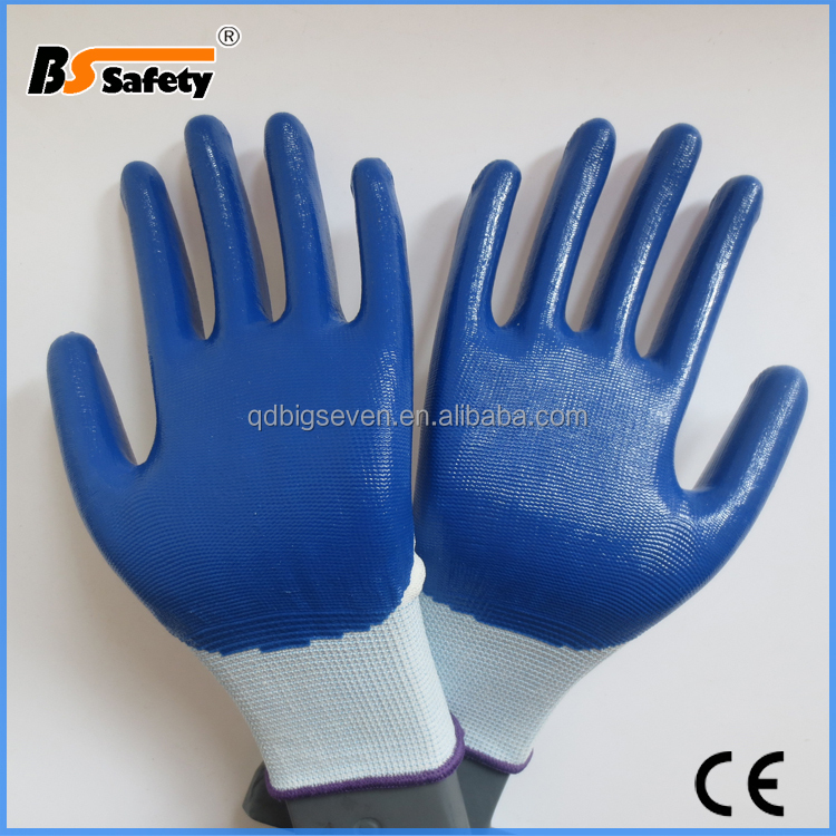 BSSAFETY 13gauge polyester knitting gloves with blue nitrile coated for gardening