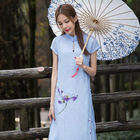 National Style Cheongsam Cotton Embroidered Dress