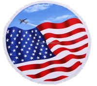 100%microfiber 60' American flag tapestry,USA flag wall hanging round beach towel