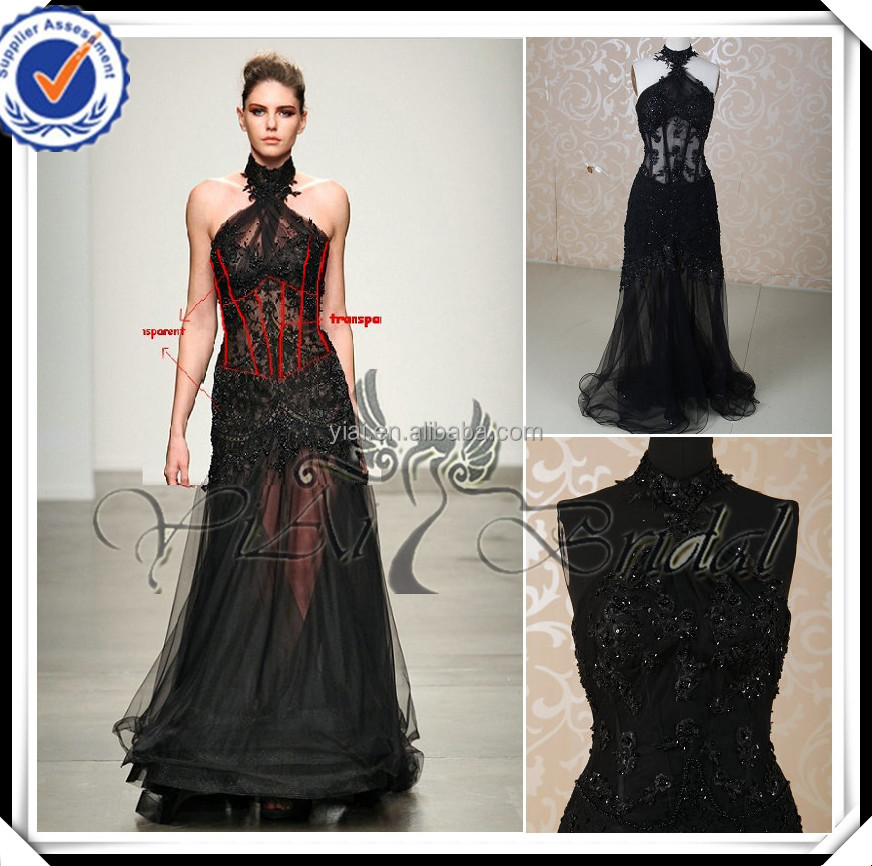 RSE212 Sexy Transparent Skirt Halter Neckline Black Zuhair Murad Evening Dresses For Sale