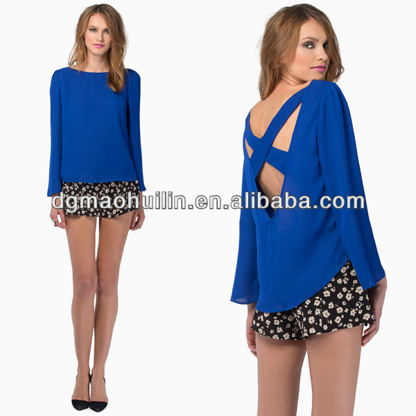 hot sale round neck long sleeve cutting for ladies blouse pattern