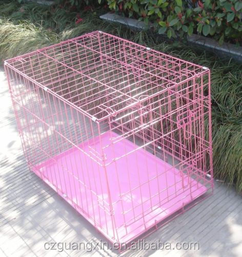 "New 36"" 2 Door Pink Folding Dog Crate Cage Kennel"