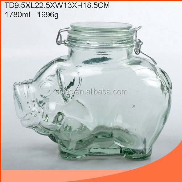 Clip Hermetic Pig Shaped Storage Glass Jar