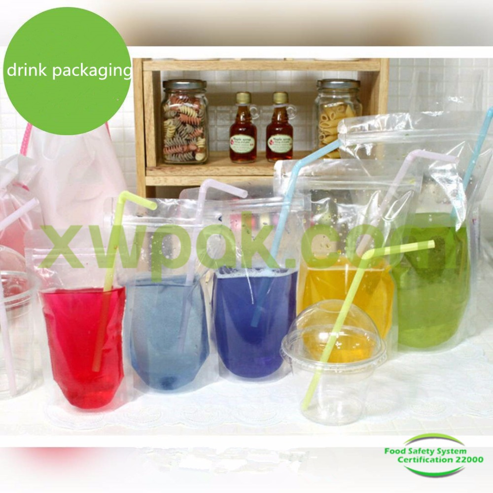 Zipper pouch and Reusable Clear Drinking Beverage Bag/Transparent Plastic Bag for Cocktail juice drink